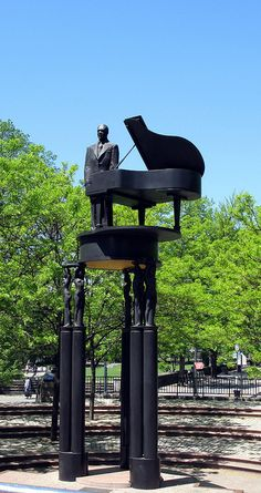 Duke Ellington Statue on Fifth Avenue and 110th Street.  Across from Central Park.   NEW YORK CITY.     (by Jack Ballenger, via Flickr) Central Park, Bronze, Monuments, A New York Minute, Duke Ellington, I Love Nyc, Art Sculpture, Roadside Attractions, Public Art