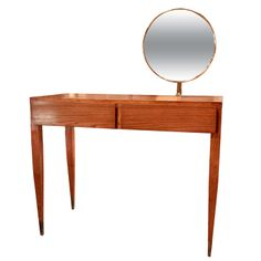 Italian 60's Oak Gio Ponti Vanity with Brass Mirror | From a unique collection of antique and modern vanities at http://www.1stdibs.com/furniture/tables/vanities/
