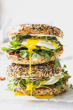 ... romesco breakfast bagel sandwiches ... #recipe #food