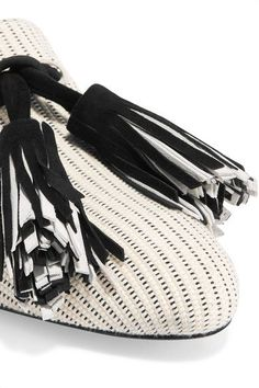 Proenza Schouler - Tasseled Woven Canvas Loafers - Off-white - IT36
