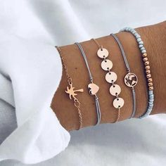 Buy 5 PCS/Set Fashion Heart Map Charm Bracelets Set For Women Boho Vintage Stone Leather Chain Bracelet Party Jewelry Wholesale Bracelet Love, Bracelet Fil, Arrow Bracelet, Tassel Bracelet, Cute Bracelets, Bracelets For Men, Fashion Bracelets, Fashion Jewelry, Beaded Bracelets