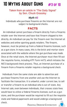 10 Myths About Guns: Part 3 of 10 Purchasing firearms online  #gunmyths #firearmmyths #mythsaboutguns #gunfacts #gun #firearm #truthaboutguns #gunsafety #firearmsafety #onlineshopping