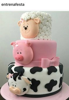 Baby Shower Cake this multi tiered cake is so cute and perfect for so many occasions, it has a co… Baby Cakes, Cow Cakes, Fondant Cakes, Cupcake Cakes, Cake For Baby, Pig Cupcakes, Fondant Cake Designs, Animal Cupcakes, Farm Cake