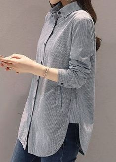 Long Sleeve Stripe Print Button Up Grey Shirt Sleeves Designs For Dresses, Dress Neck Designs, Blouse Designs, Hijab Fashion, Fashion Outfits, Only Shirt, Grey Long Sleeve Shirt, Shirt Bluse, Shirt Refashion