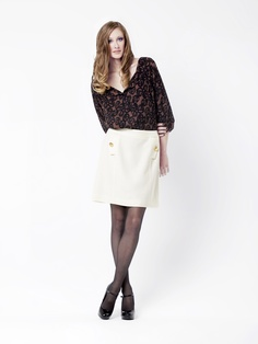 Phelps Blouse  in Dulce Bud Print Silk + Annalee A Line Skirt by LEONA