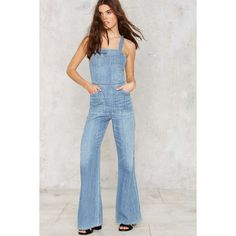 Citizens of Humanity Katie Denim Overalls ($348) ❤ liked on Polyvore featuring jumpsuits, blue, wide leg denim jumpsuit, wide leg jumpsuit, blue bib overalls, blue denim overalls and denim bib overalls