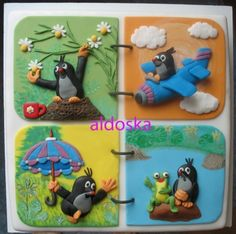 Little Mole Folder Fondant, Novelty Cakes, Mole, Mini Cakes, Birthday Cake, Kids Rugs, Sweets, Cookies, Christmas Ornaments