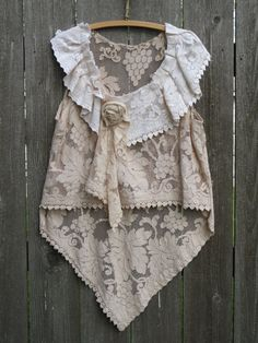 Bohemian Rhapsody Romantic Lace Tunic French Patisserie Paris Chic Tattered Eco Upcycled Beach Cover Top