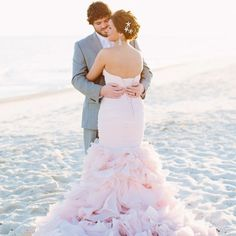 Really want a blush wedding dress for my big day someday. (via Blush Wedding Dress on the Beach Colored Wedding Gowns, Blush Pink Wedding Dress, Blush Pink Weddings, Wedding Dress Trends, Blush Gown, Pink Dress, Wedding Blog, Dress Wedding, Wedding Ideas