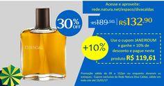 Uma seleção de produtos que é a cara da estação, o Deo Parfum Essencial masculino com 30% OFF. Ganhe + 10% de desconto, use o cupom JANEIROUM, exclusivo da Rede Natura Diva Caldas, aproveite e compre online.  Deo Parfum Essencial Masculino - 100ml de R$  189,90 com o cupom JANEIROUM = R$ 119,61 http://rede.natura.net/espaco/divacaldas/deo-parfum-essencial-masculino-100ml-41806  Promoção válida de 12/01/17 ou enquanto durarem os estoques. Cupom válido em todo o site até 15/01/17.