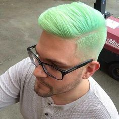 Amazing Green Hair Color Ideas For Stylish Men Neon Hair, Pastel Hair, Blue Hair, Green Hair Men, Neon Green Hair, Mens Hairstyles Fade, Trendy Hairstyles, Hair And Beard Styles, Short Hair Styles