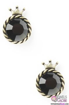 Crowned Gem Stud Earrings In Black