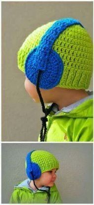 Crochet baby boy hat with headphones Made to order any от IvonKaa Bonnet  Crochet ee66f3f662ae