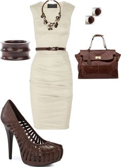 """white and brown"" by lindsey-ellis on Polyvore Date Night Dresses, Ruched Dress, Fashion Looks, Cream, Brown, Winter, Summer, Clothing, Leather"