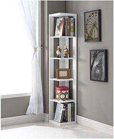 White Finish Wood Wall Corner 5 Tier Bookshelf Bookcase