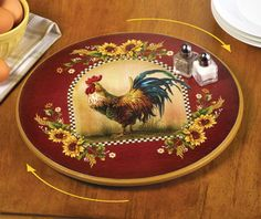 Lazy Susan Rooster Kitchen Turntable by Collections Etc Lazy Susan Rooster Kitchen Turntable Standard Rooster Kitchen Decor, Rooster Decor, Lazy Susan, Arte Do Galo, Tabletop, Chicken Kitchen, Sunflower Kitchen, Collections Etc, Chickens And Roosters