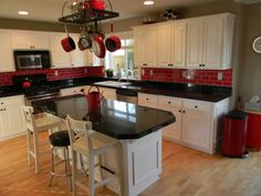 Kitchen Remodel Black And Red Kitchens White Tiles