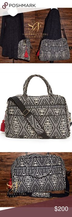 DUFFLE BAG Bohemian Weekender Convertible Shoulder Brand New.   • Beautiful and sophisticated, this tribal inspired travel bag is your perfect companion for a weekend adventure.  • Large enough to fit everything you need for about 4 days.  • 4 exterior pockets; lined interior has 8 pockets. • Zip closure, removable crossbody strap. • Measurements + material provided in comment(s) section below.   {Southern Girl Fashion - Boutique Policy}   ✔️ Same-Business-Day Shipping (10am CT). ✔️ Price…