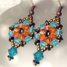 Tutorial Crystal Hexagon earrings for beginners with free