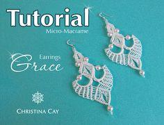 Orecchini lunghi TUTORIAL PDF Micro Macrame Grace di ChristinaCay