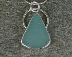 Aqua Sea Glass Bezel Pendant nekclace