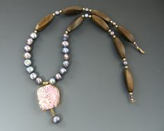 Pink Druzy Necklace Purple Pearl Necklace Wood di CharleneSevier, $48.00