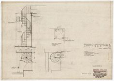 drawing of spiral stair, Villa Mairea, Noormarkku, Finland, Alvar Aalto Interior Stair Railing, Iron Stair Railing, Spiral Staircase, Staircase Design, Staircases, Architecture Drawings, Architecture Details, Stairs Diagram, How To Draw Stairs