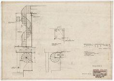 drawing of spiral stair | Villa Mairea | Noormarkku, Finland | Alvar Aalto 1938-39