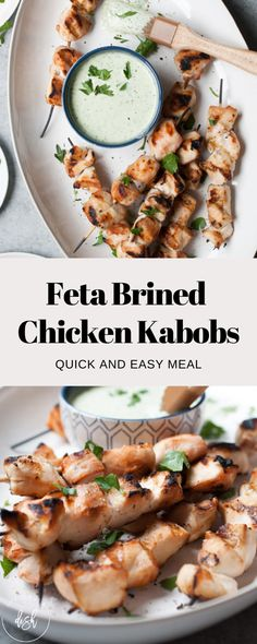 Simple Feta Brined Chicken Kabobs using the liquid from fresh feta cheese as a brine! These salty, cheesy kabobs will make summer grilling a breeze! Appetizers For A Crowd, Kabob Recipes, Chicken Kabobs, Food Combining, Fresh Lime Juice, Easy Dinners, Food Gifts, Food Processor Recipes