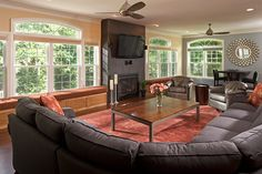 Family Room Addition - I like window seat benches. Book shelves below? Family Room, Great Rooms, Furniture Layout, Living Room Makeover, Home Remodeling, House, Room Additions, Home Repairs, Room