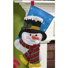 Bucilla Christmas Stocking Felt Applique Kit 86649 Jack Frost for sale online Christmas Stocking Kits, Felt Christmas Stockings, Christmas Sewing, Christmas Projects, Holiday Crafts, Christmas Holidays, Christmas Decorations, Holiday Decor, Felt Stocking