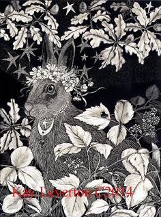 La carte vierge de lièvre de bénédiction de conception originale de Scraperboard