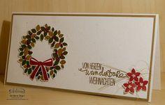 Weihnachtskarte mit Kranz Barbaras Kreativ-Studio