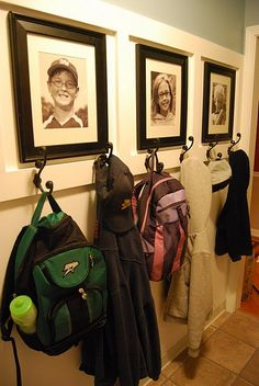 mudroom idea - I like the photos that go with each set of hooks and that there are 2 hooks per child (one for bags, one for coats/hats) Instead of photos, hang each kid's artwork Hall Deco, Home Organization, Household Organization, Mudroom, My Dream Home, Home Projects, Diy Home Decor, New Homes, Sweet Home