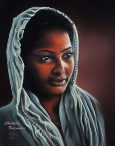 """""""Shanti"""" - Pastel sec par Christelle Braconnier, d'après une photo de Rudra Mandal"""