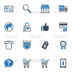 Shopping and E-commerce Icons Set 2 - Blue Series  #GraphicRiver         Set of 16 shopping and e-commerce icons, great for presentations, web design, web apps, mobile applications or any type of design projects. The pack contains EPS, AI, PSD, JPEG (4000×4000) and transparent PNG for each icon (256×256 pixels).     Created: 15December12 GraphicsFilesIncluded: PhotoshopPSD #TransparentPNG #JPGImage #VectorEPS #AIIllustrator HighResolution: Yes Layered: No MinimumAdobeCSVersion: CS Tags…