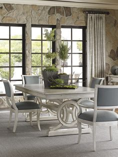 Oyster Bay Montauk Rectangular Dining Table with Slate Blue Upholstered Dining Chairs | Lexington Furniture #LHBDesign