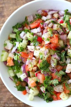 Kachumber Salad Cucumber Tomato Onion Salad is part of Kachumber Salad Cucumber Tomato Onion Salad - cayenne, lemon dressing Serve as a side with Indian curries, or as a dip with chips, or over burgers Vegan Glutenfree Soyfree Oilfree Recipe Cucumber Tomato And Onion Salad Recipe, Cucumber Recipes, Summer Salad Recipes, Summer Salads, Tomato Salad, Indian Cucumber Salad, Healthy Salad Recipes, Vegetarian Recipes, Cooking Recipes