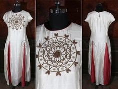 SW 3903 - Certified #organic natural dyed long #kurta with hand embroidered zardosi work & red panels in front  BhuSattva - True Essence of Earth (www.bhusattva.com)  ‪#‎BhuSattva‬ ‪#‎CertifiedOrganic‬ ‪#‎EcoFriendlyFashion‬ ‪#‎EcoFashionLifestyle‬ ‪#‎NaturalDyes‬ ‪#‎HerbalDyes‬ ‪#‎SociallyResponsibleLuxury‬ ‪#‎EmpoweringGenerations‬ ‪#‎WomenWear‬ ‪#‎DesignerWear‬ ‪#‎OrganicRevolution‬ ‪#‎ConscienceClothing‬