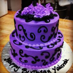 Black And Purple Birthday Cake El Manjar Peruano By Marissas