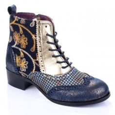 Irregular Choice /'Big Step/' Black Robot Print Zip Up Platform Ankle Boots
