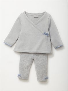 ENSEMBLE CARDIGAN LEGGINGS BÉBÉ GRIS CLAIR CHINE