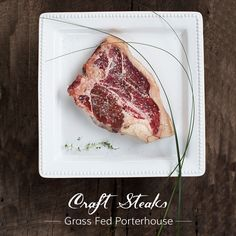 The historical definition of 'Porterhouse' is a place where porter, ale, and occasionally chops or steaks were served. In other words, fine and sophisticated fare, which perfectly describes our Grass Fed Porterhouse Steak. This cut is a union of the sophisticated Filet Mignon and refined New York Strip. Both the buttery tenderness of our Filet and the complex earthiness of our aged NY Strip shine through. Grass Fed Steak.