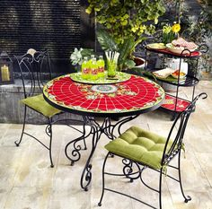An adorable patio set is perfect for enjoying summer afternoons