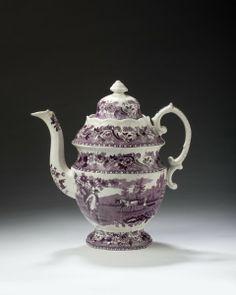 """The Sower"" Staffordshire Coffeepot, purple transferware, Wm Adams IV & Sons, 1829-61"