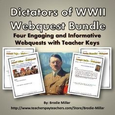 This 29 page bundle include 4 webquests related to the main Dictators of World War Two (WWII), that are individually available on my store. By buying this bundle you will save! This bundle will help your students understand the main facts and details behind the Dictators of World War Two! The bundle includes webquests for Hitler in Germany, Stalin in the Soviet Union, Mussolini in Italy and Tojo in Japan. Each webquest include a teachers key.