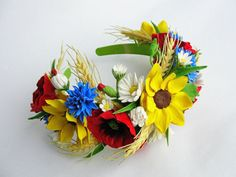 sunflower crown red poppy crown ukrainian wreath flower