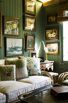 Sherwin Williams Inland, paneled walls, gallery wall, sunroom, rattan sofa