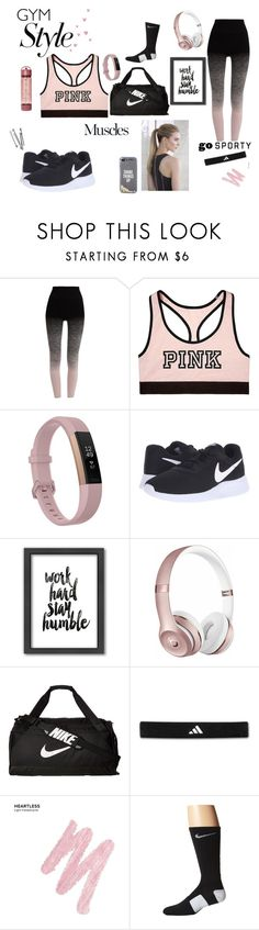 """""""Work Hard, Play Hard"""" by lindseybtaylor ❤ liked on Polyvore featuring Pepper & Mayne, Victoria's Secret, Fitbit, NIKE, Americanflat, Beats by Dr. Dre, Anja, adidas, Urban Decay and Kate Spade"""
