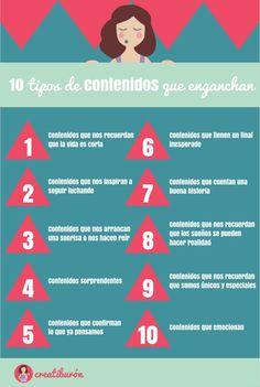 10 tipos de contenidos que enganchan #infografia